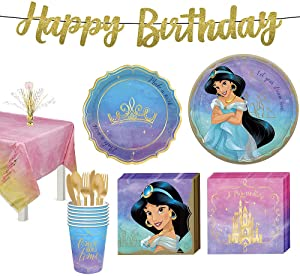 Party City Disney Princess Jasmine Tableware Kit for 8 Guests, Includes Cups, Cutlery, Napkins, Plates, and Decor