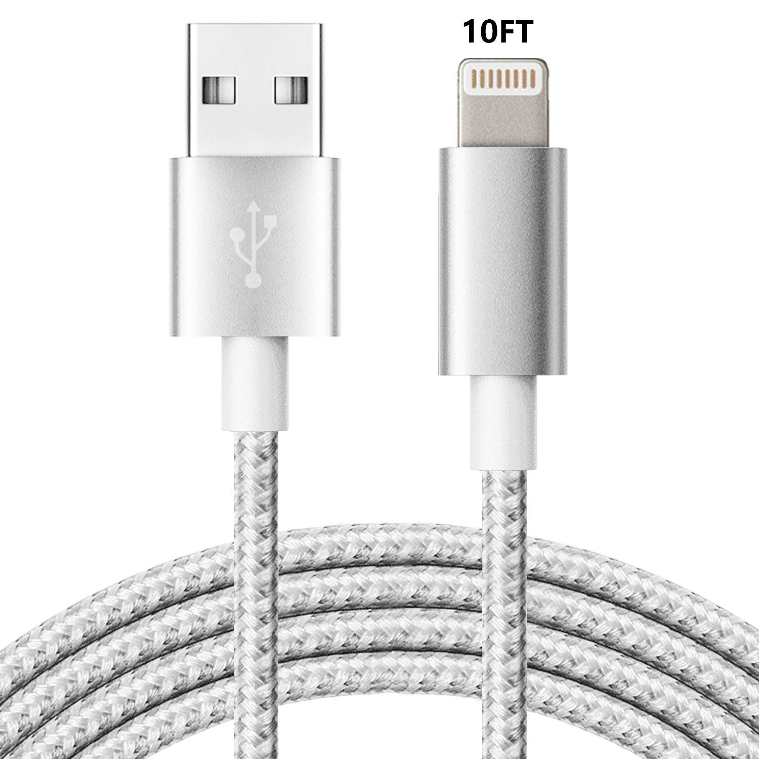 LINKPIN Lightning Cable Sync and Fast Charging fit for iPhone iPad iTouch- White (10ft/3M, 1Pack-White)