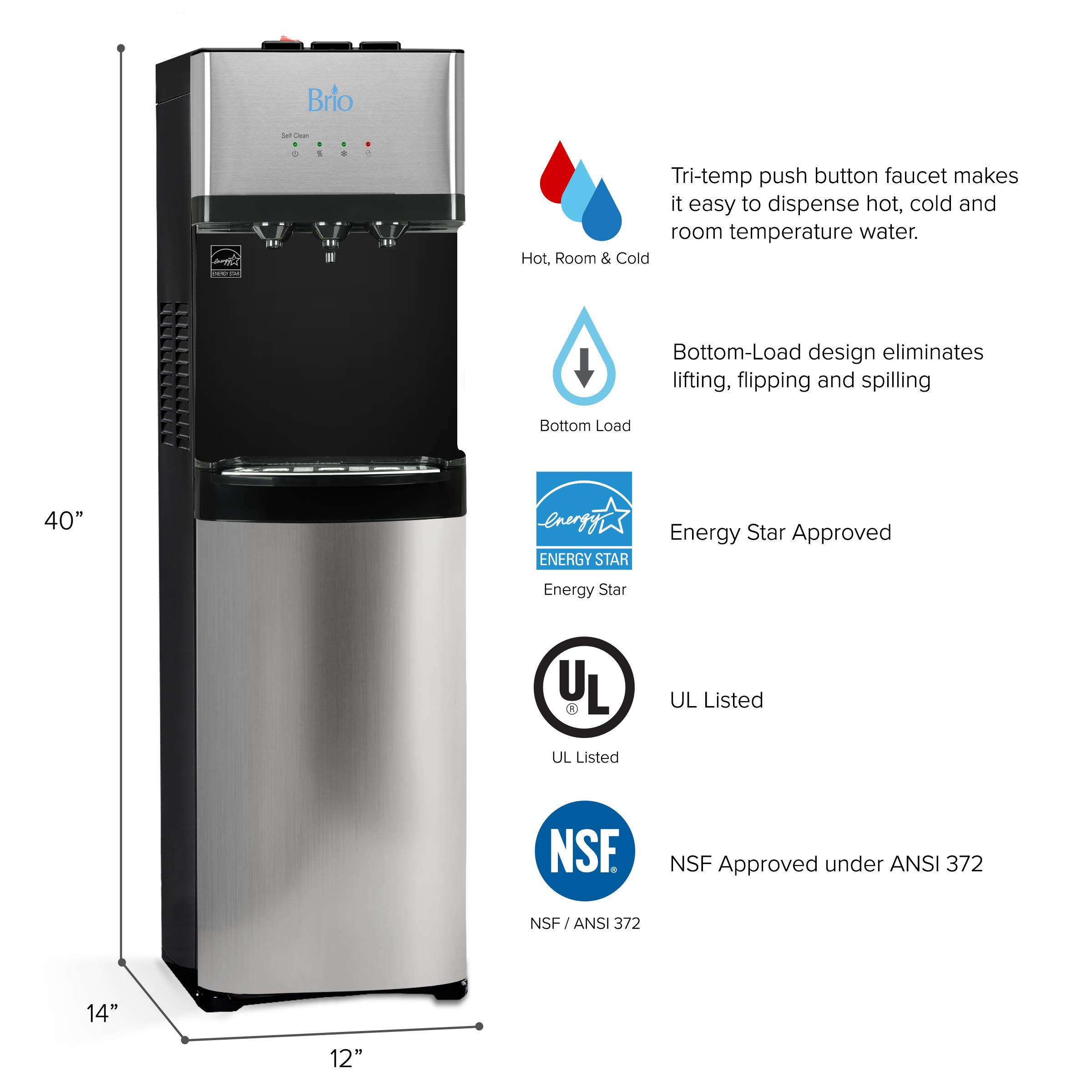 Brio Self Cleaning Bottom Loading Water Cooler Water Dispenser - Limited Edition - 3 Temperature Settings - Hot, Cold & Cool Water - UL/Energy Star Approved by Brio (Image #2)