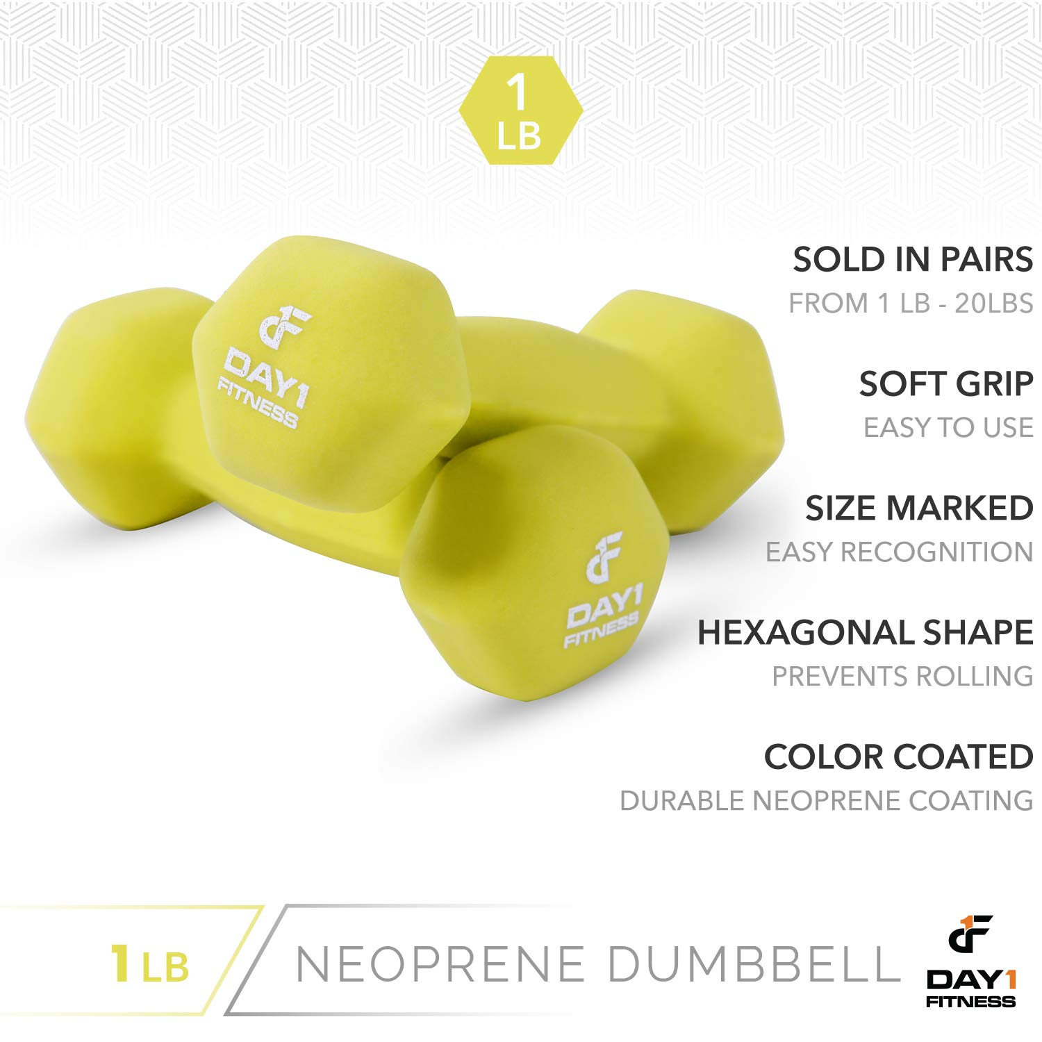 12 WEIGHT OPTIONS Color Coded Hexagon Shape Easy to Read Hand Weights for Muscle Toning Neoprene Dumbbell Pairs by Day 1 Fitness Weight Loss 1-20 LBS Strength Building Non-Slip