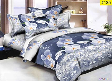 Fresh From Loom Double Bed Luxurious Glace Cotton 1 Comforter, 1 Bedsheet and 2 Pillow Cover (90x100-inch, Multicolour) - Set 4 Pcs