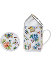 La Cija Jardín Oriental - Tisana de Porcelana con Filtro de Acero Inoxidable, Color Blanco