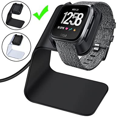 Fitbit Versa Charger, CAVN Fitbit Versa Charger Dock Cable Accessories  Premium Aluminum Charging Dock Stand Cable Cord Station Cradle with 4 2ft