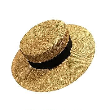 YXINY Viseras Sombrero De Paja De Las Mujeres Flat Top De ala Ancha Estilo  Británico Jugador De Bolos Gorro De Playa Sombrero De Visera  Amazon.es   Jardín fe78d69bbe6