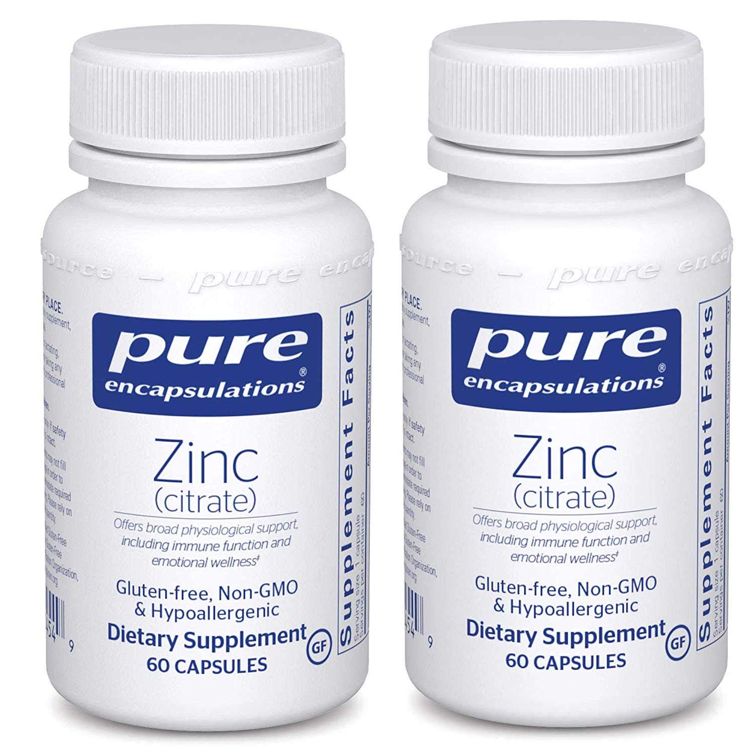 Pure Encapsulations Zinc Citrate Hypo-Allergenic Dietary Supplement - 60 Capsules (Pack of 2)