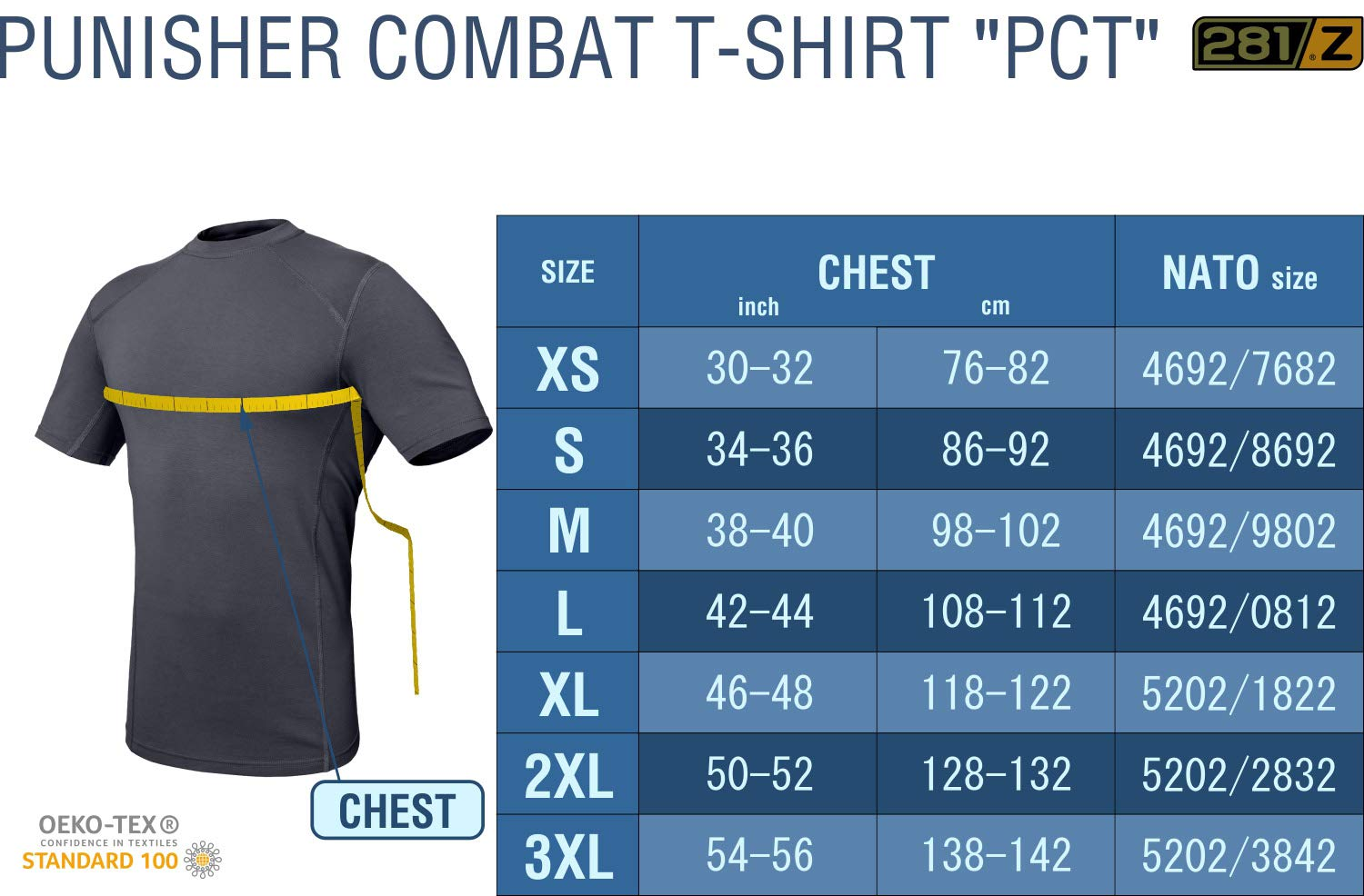 281Z Military Stretch Cotton Underwear T-Shirt - Tactical Hiking Outdoor - Punisher Combat Line (Graphite, Large) by 281Z (Image #6)