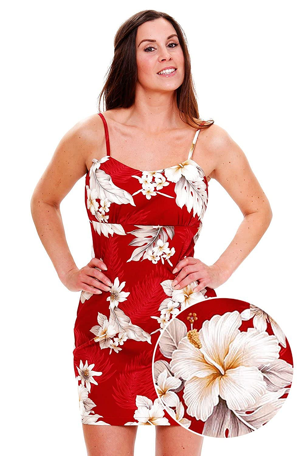 Pacific Legend | Original Hawaiikleid | Damen | S - XXL | Sommer | Hawaii-Print | Blumen | Rot