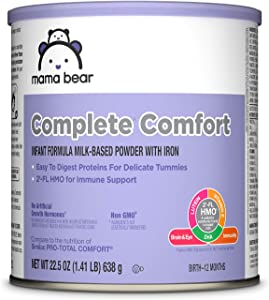 Amazon Brand - Mama Bear Complete Comfort Infant Formula Milk-Based Powder with Iron, 22.5 Ounce