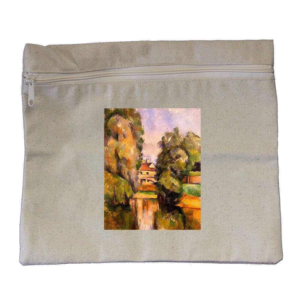 Country House By A River (Cezanne) Canvas Zippered Pouch Makeup Bag