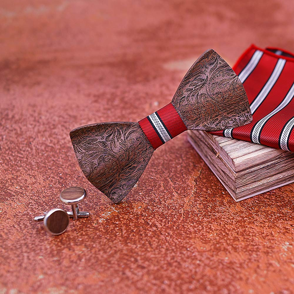 Handmade Carving Wooden BowTie Necktie with Matching Pocket Square Mens Cufflinks Set TZ030 TORMROAD TM