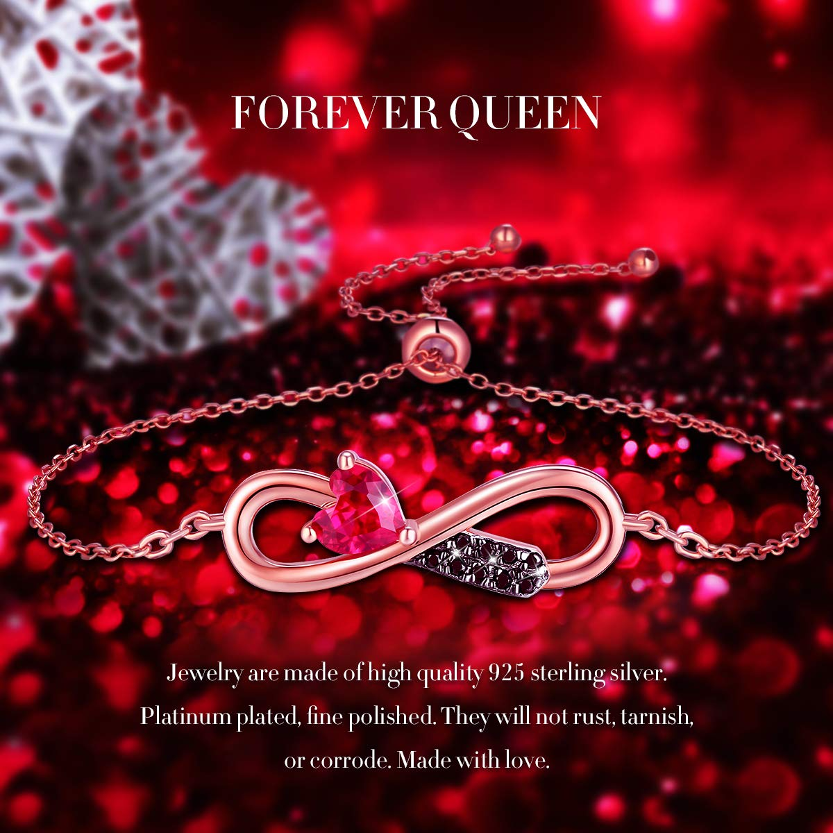 FOREVER QUEEN Infinity Bracelet Adjustable Bracelet for Women Girls 925 Sterling Silver 18K Gold Plated Bangle Bracelet Mothers Day Jewelry Gift