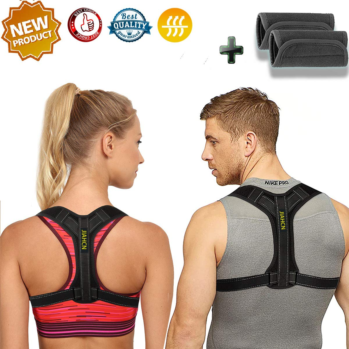 Adjustable Posture Corrector for Women&Men and Kids, Effective and Comfortable Posture Brace for Slouching and Hunching, Upper Back Bracer with Detachable Pads to Relieve Back Pain (28-41'') (Black)