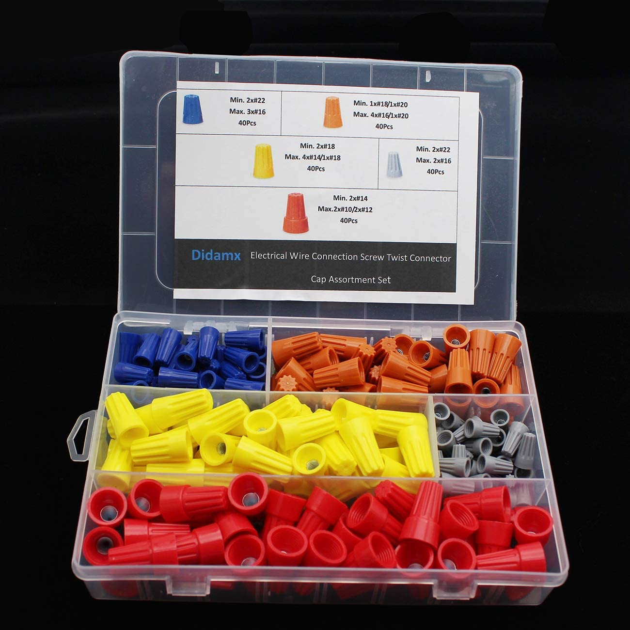 Didamx 200Pcs Electrical Wire Connectors Screw Terminals Spring Insert Twist Nuts Caps Connection Assortment Set