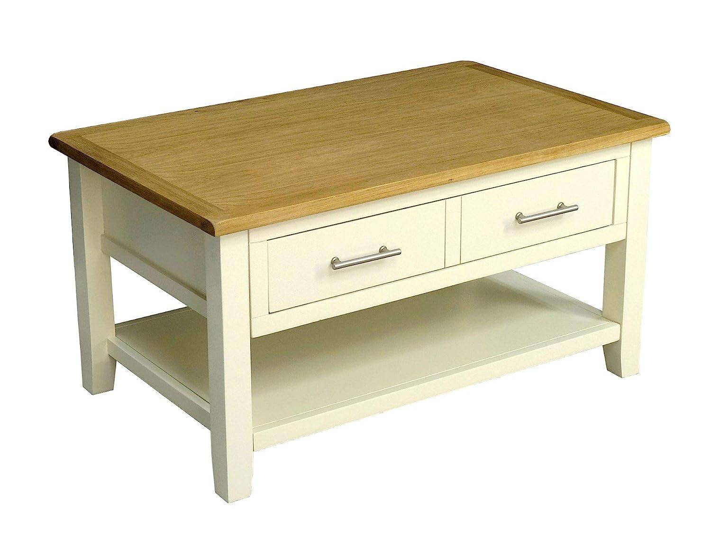 Nebraska Painted Cream Oak 1 Drawer Coffee Table//Storage with Shelf//Living Room Furniture