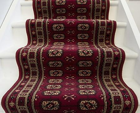 Lima 158 Deep Red Narrow Stair Carpet Runner Rug