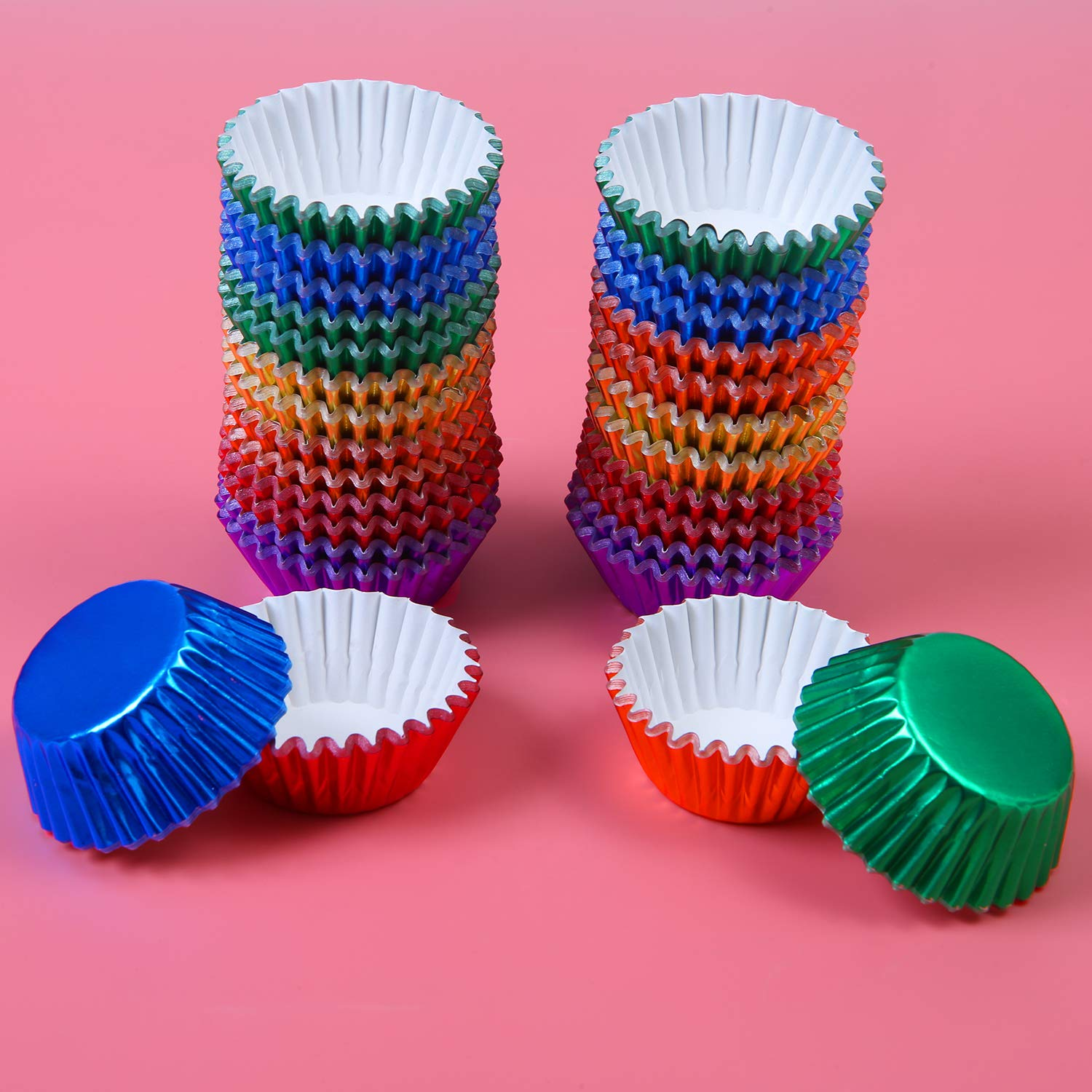 6 Colors Elcoho 600 Pieces 1.25 Inch Mini Foil Metallic Cupcake Liners Muffin Paper Cases Baking Cups