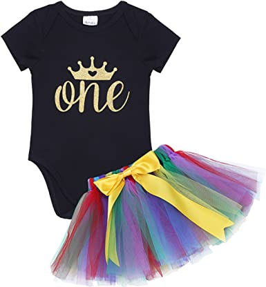 iiniim Baby Girls Letter ONE Printed 1st Birthday Outfit Romper Princess Tutu Dress