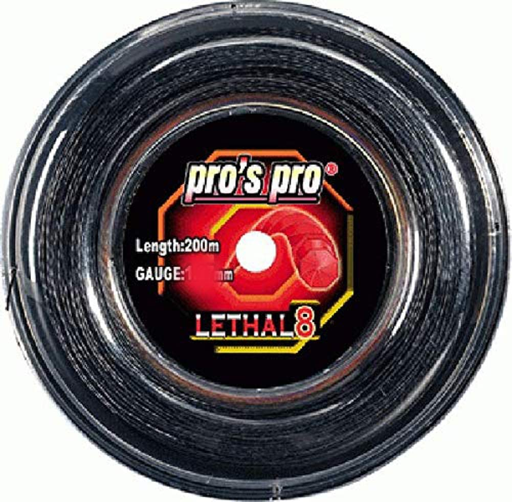 Negro P3 International Pros Pro Lethal 8 Cordaje de Tenis 200m Rollo