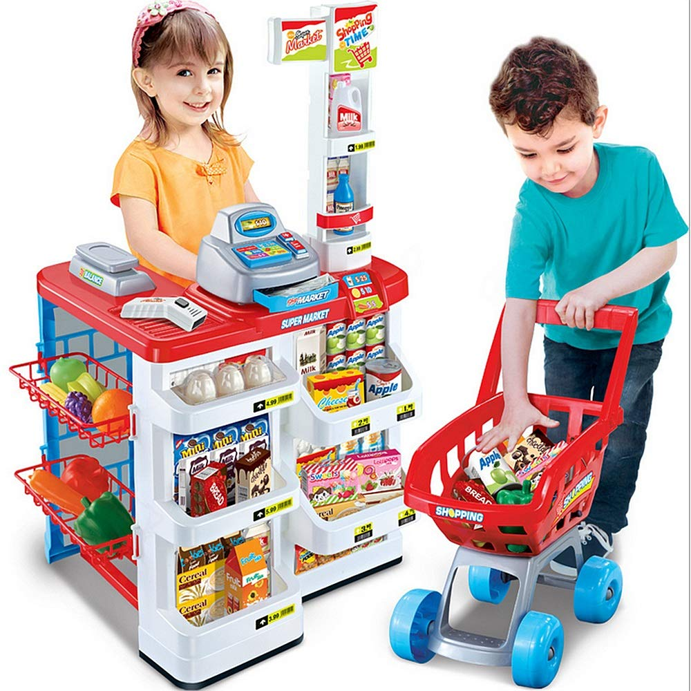 JIANGXIUQIN Children's Educational Toys Home Supermarket Shopping Set Market Stall Toy Shop & Shopping Trolley & Play Food for Girls Boys's Gift Young Children Inspire Imagination