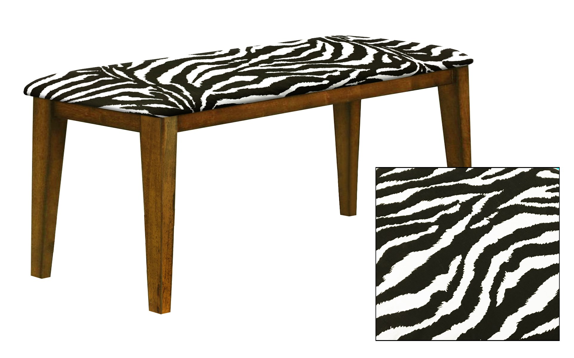 """Oak Finish 19"""" Tall Universal Bench Featuring a Padded Seat Cushion With Your Choice of an Animal Print Fabric Covered Seat Cushion (Black and White Zebra Cotton)"""