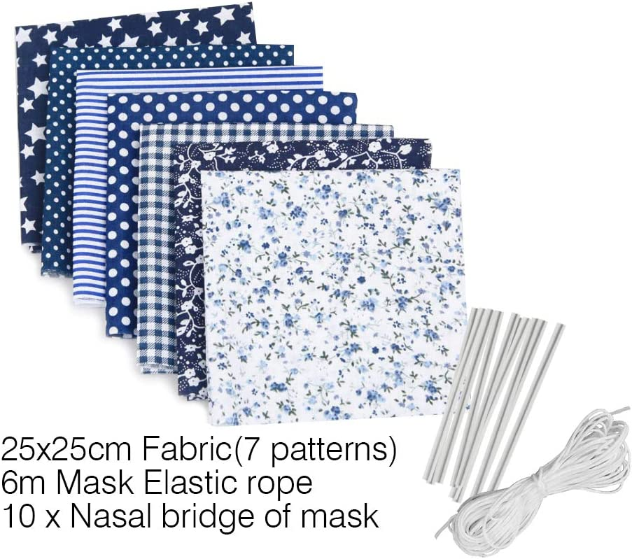 10Pcs Nose Bridge Dark Blue Sewing Set 7 Pieces Cotton Fabric by The Yard Sewing Fabrics Patchwork Fabric DIY Cotton Clloth 25 25cm 6Meter Elastic Band