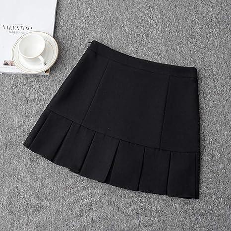 HEHEAB Falda,Cintura Alta Negro Plisado Lolita Una Oficina Online ...