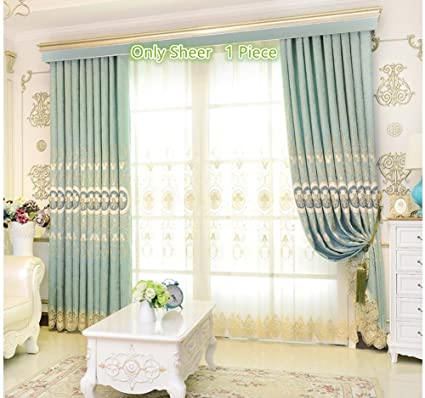 European Sheer Curtains For Living Room Delicate Embroidery Voile Rod Pocket Top Mild