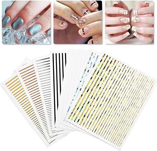 Amazon.com: ONNPNN 7 Sheet Nail Strip Sticker, 3D Curve Stripe Lines Nails Art Stickers, Adhesive Striping Tape Fingernail Decals, Waterproof Striping Tapes Line DIY Foil Manicure Decoration for Wonen Girls: Arts, Crafts & Sewing