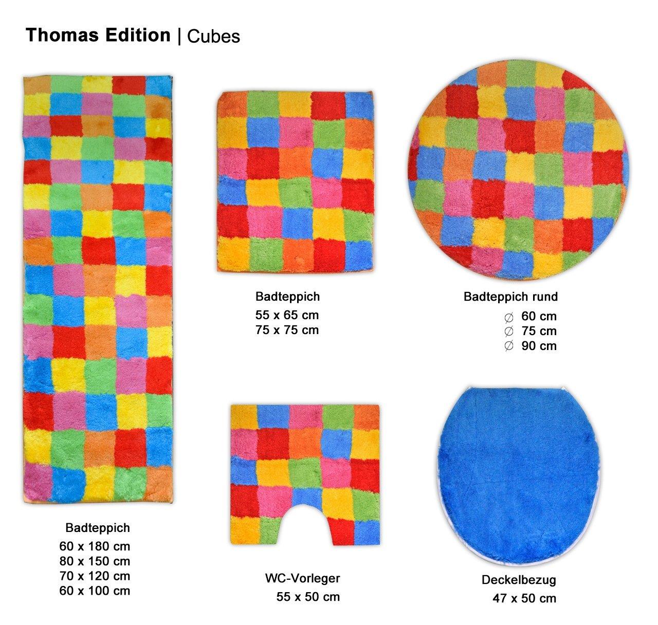 Mt 1570 15 Rund 90 Cm Coloured Thomas Badteppich Cubes