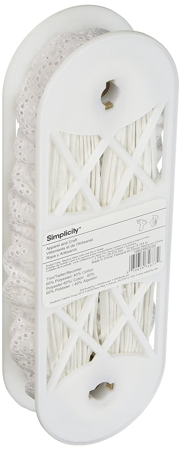 Wrights Swiss Eyelet 1 1/8 Wide 10 Yards-White 186 2460-030 Notions - In Network 438524