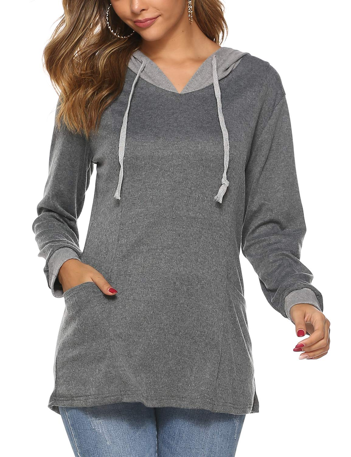 Loose Fitting Long Sleeve Fall Winter Hooded Sweatshirt for Women Color Block Drawstring Tunic Blouse Tops(Grey,XXL)