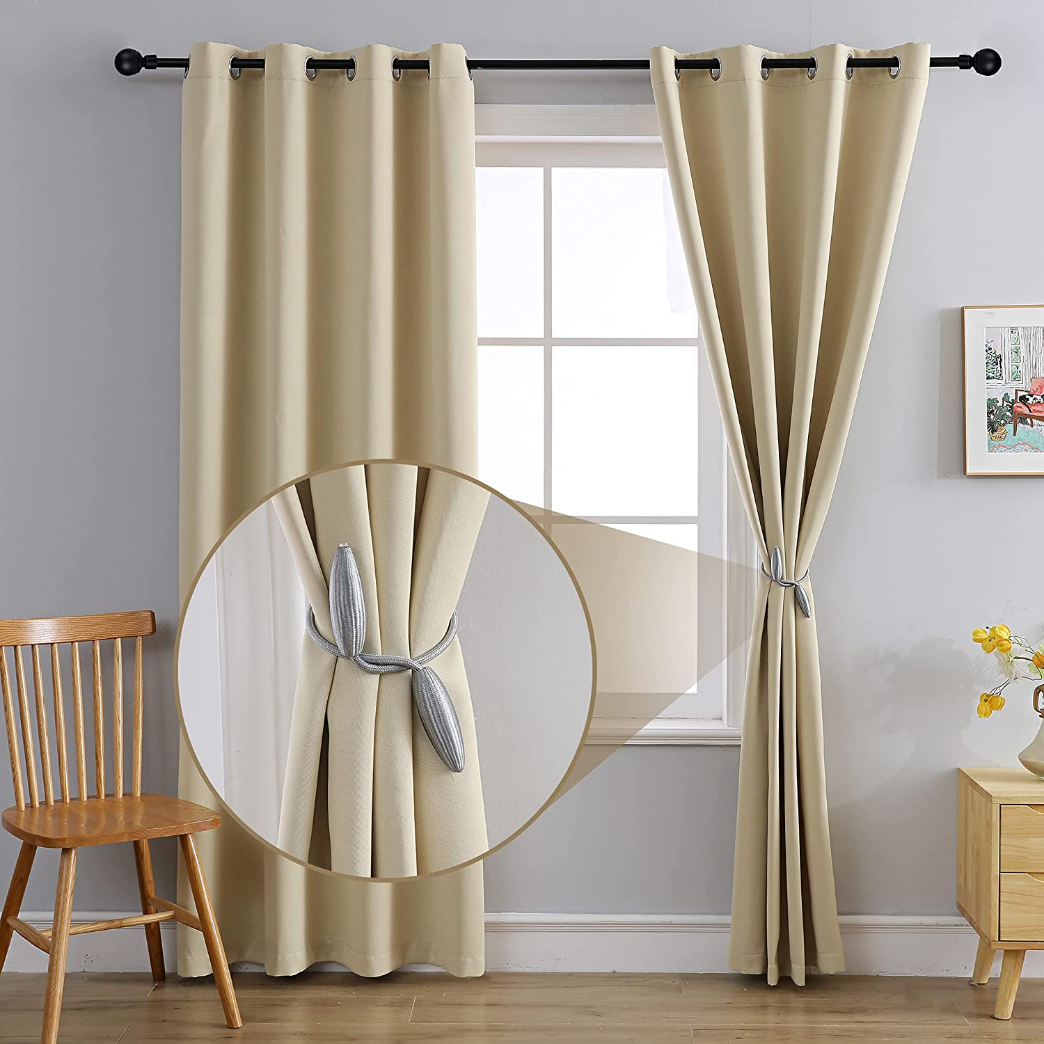 MOFV Blackout Curtain Panels - Home Decor Grommet Top Solid Room Darkening Window Treatments, Thermal Insulated Noise Reducing Drapes for Bedroom and Living Room (Creamy White, 52''W x 84''L)