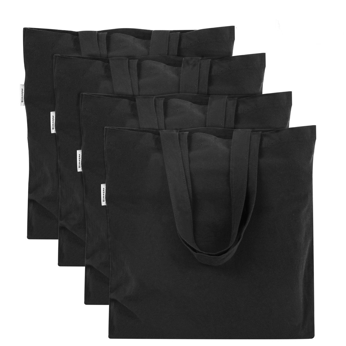 Canvas Bag by Dimayar 4pcs Washable Canvas Shopping Bag Resuable Grocery Bags Cloth Shopping Black Bags Canvas Tote Bag Perfect for Crafting Decorating