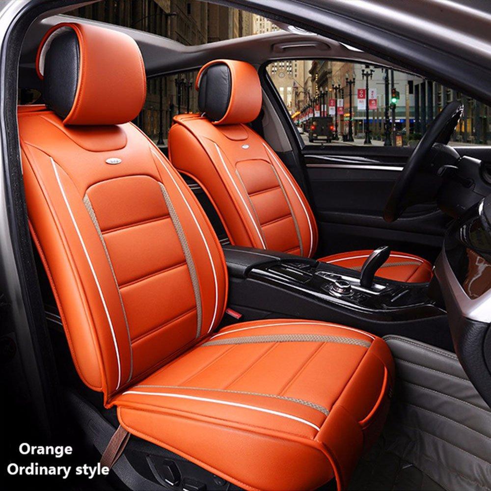 HUKOER ( Front + Rear ) Special Leather car seat covers For Hyundai solaris ix35 i30 ix25 Elantra accent tucson Sonata auto accessories (Orange, Ordinary Style)