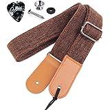 Rinastore Ukulele Strap Country Style Soft Cotton Linen & Genuine Leather Shoulder Strap for Ukulele Banjo Mandolin (Coffee-US-12)