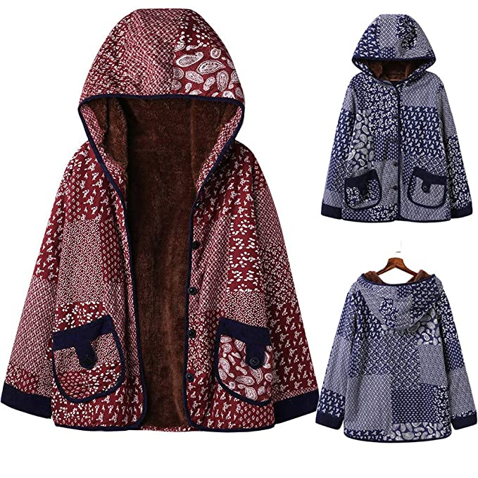 Laimeng_World Women Winter Printed Hooded Warm Fleece Floral Button Down Coat Jacket Outerwear with Pockets at Amazon Womens Clothing store: