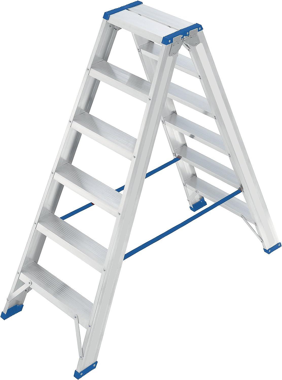 eurokraft – Escalera de acceso de los 2 lados – Bisagra energía de pesadas cargas, Marchas profilées – 2 x 6 peldaños, – escalera escabeaux escalera escalera de aluminio escalera plegable escaleras