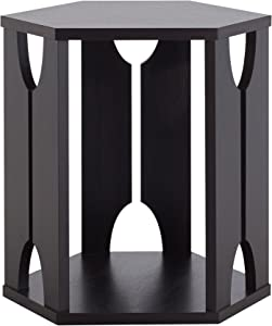 Furniture of America Hobson Modern End Side Table with Hexagon Structure, Open Bottom Shelf, Espresso