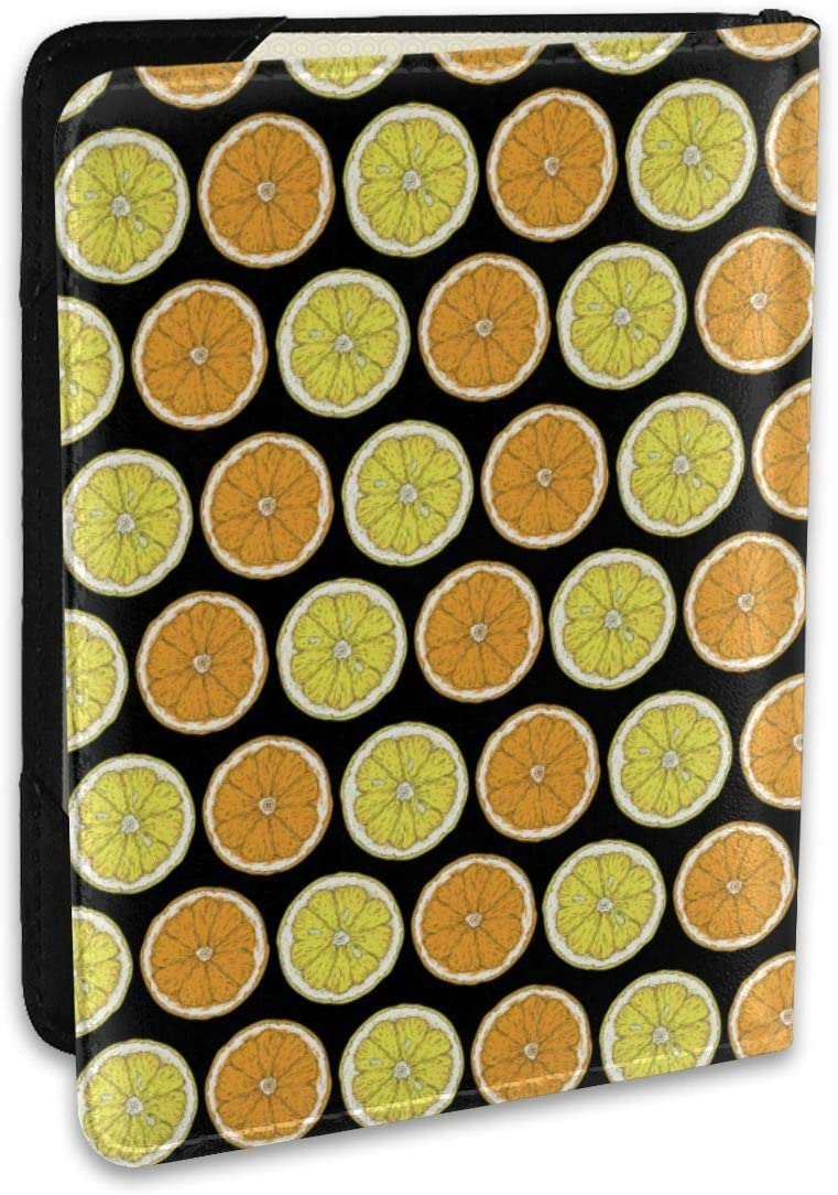 Biahos Leather Passport Cover Lemon And Orange Slices Wallet For Passport Case