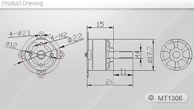 T-MOTOR MT1306-10 KV3100 Versión 2.0, motor eléctrico de alto rendimiento sin cepillos para uso con aeronaves de hélices múltiples: Amazon.es: Juguetes y juegos