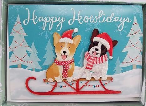 box of 15 embellished christmas holiday cards dogs happy howlidays - Dog Holiday Cards