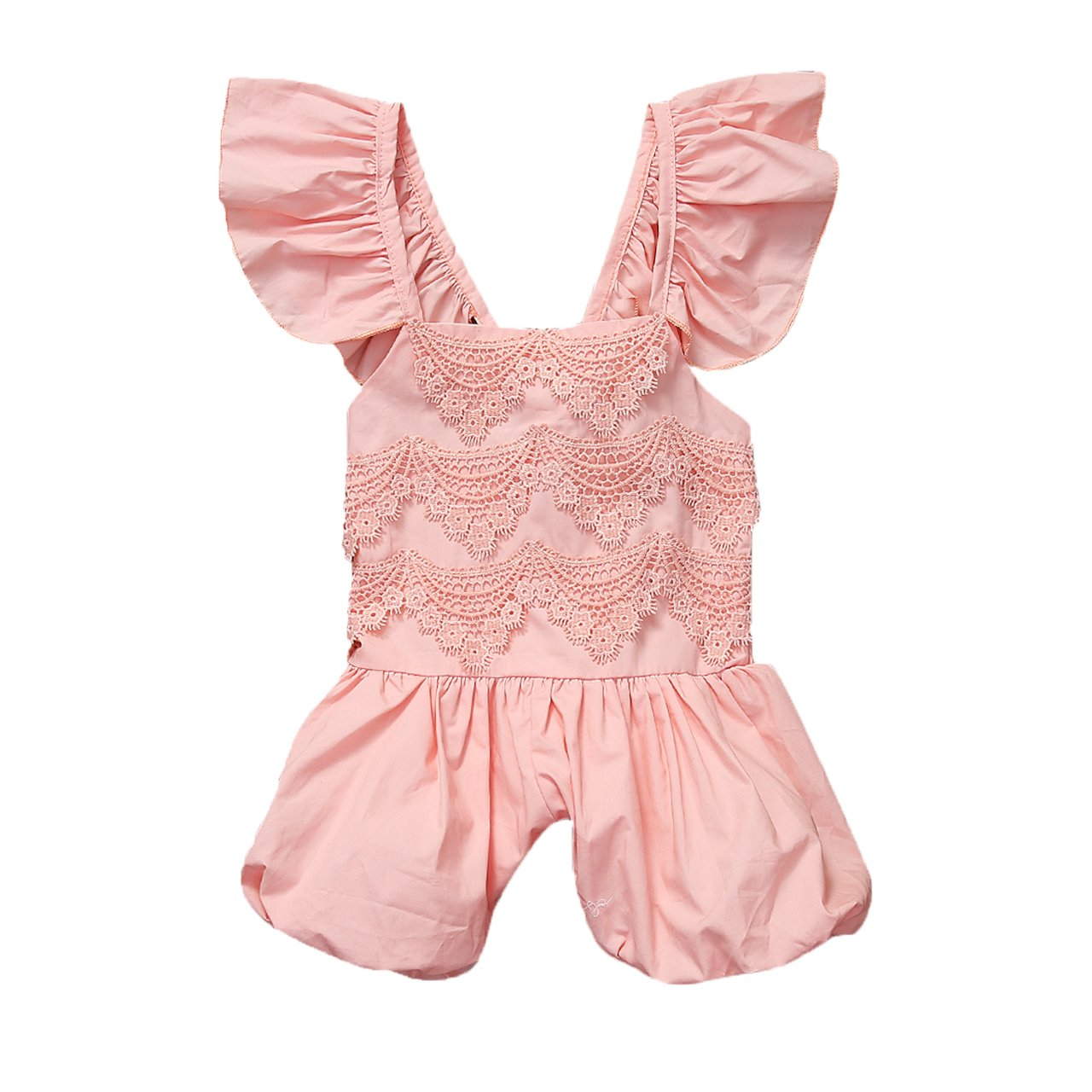 New Fashion Summer Baby Girls Clothes Lace Ruffle Romper Sleeveless Jumpsuit Backless Sunsuit Outfit