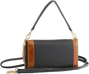 StilGut Smart Wallet en cuir - Pochette, sac, housse portable et sac à bandoulière, Noir-Cognac Chester