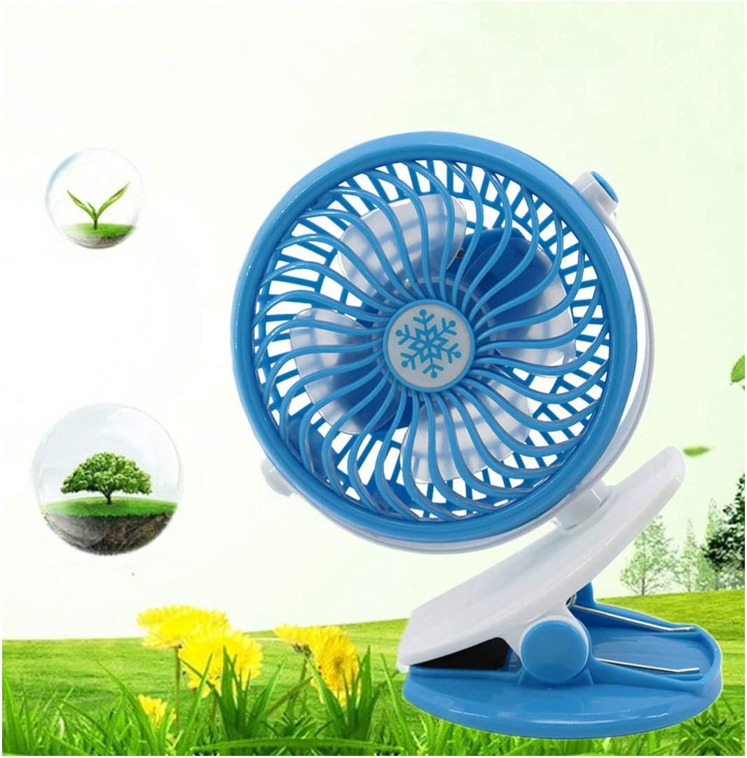 Portable Mini USB Fan 360 Degree Rotation Clip Fan Abs 4 Blades Light Weight USB Rechargeable Desk Cooling Fan for Home Office,Blue