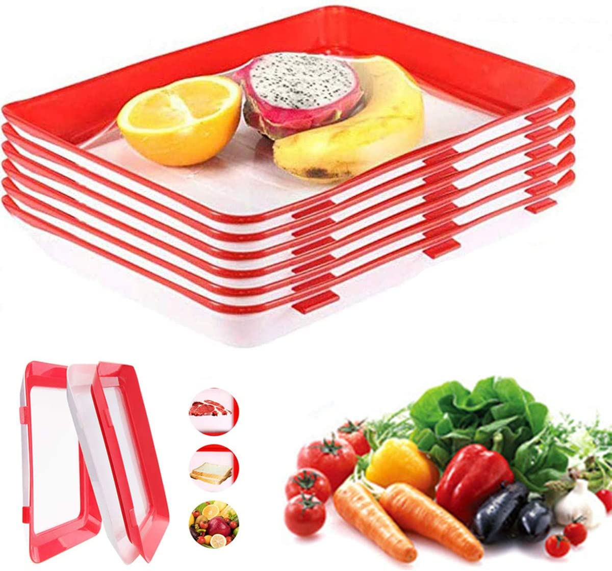 Food Plastic Preservation Tray Storage Container Creative Stackable Food Reusable Preservation Tray Keeping Food Fresh,Keeper Freezer Meal Trays Fresh Fishes,Meat,Steaks,Cheese,Cold Cut(2 Pcs Trays)