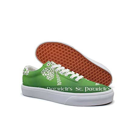 womens Skateboarding Shoes Canvas green St Patrick's Day Sport Sneaker