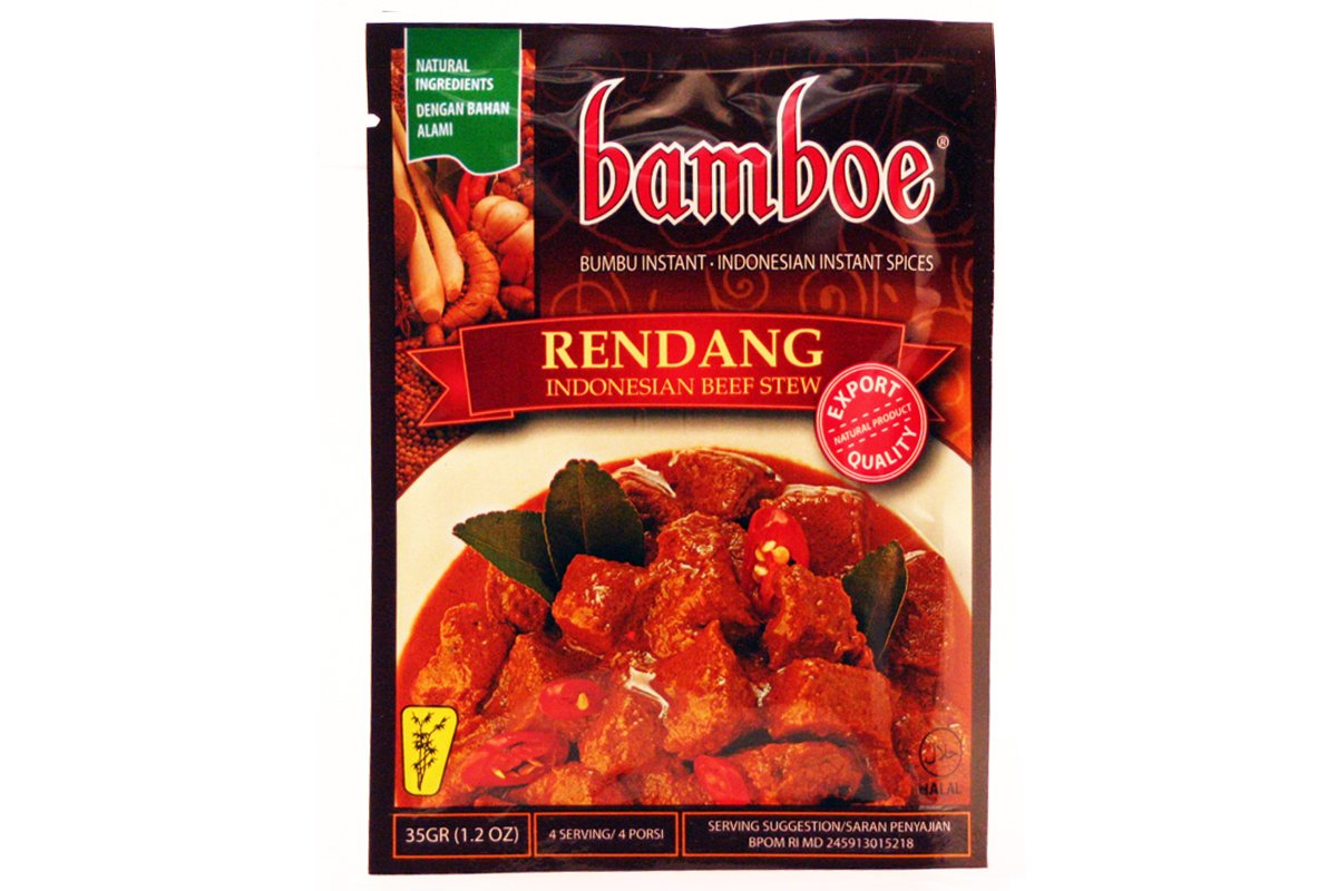 Amazon Com Bamboe Indonesian Instant Spices Rendang Indonesian Dry Curry Paste 1 X 1 2 Oz Curry Sauces Grocery Gourmet Food