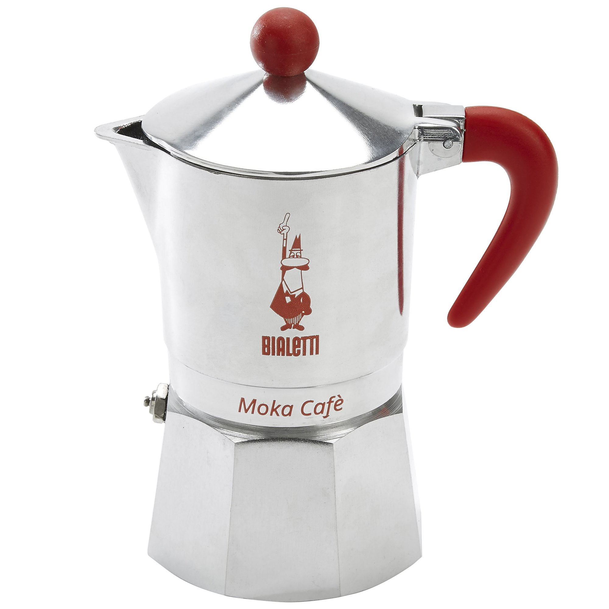 Bialetti, 06786, Moka Cafe 3 cup, Stove Top Espresso Maker, Red