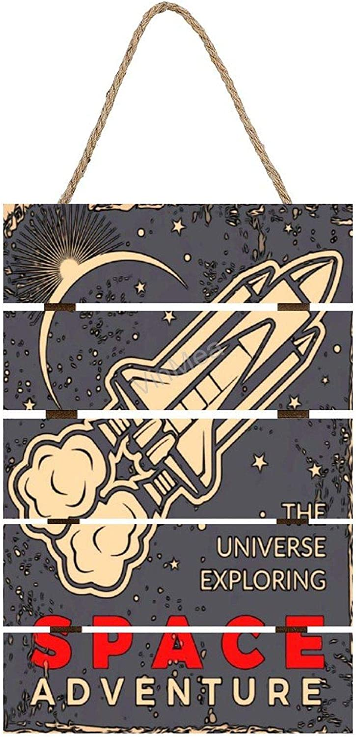 Printed Wooden Signs Spaceshuttle Prints on Wood Plaque Wall Art Home Decor, 8 x 12 Inch