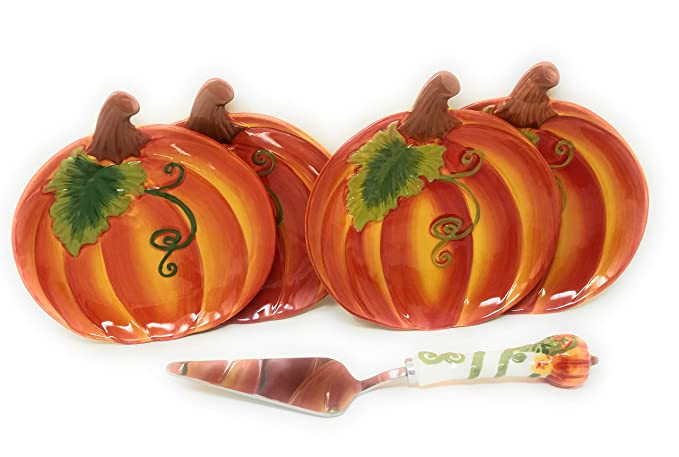 Temp-tations 5 pc Hand Painted Stoneware Dessert Plates w/Pie Server (Pumpkin)
